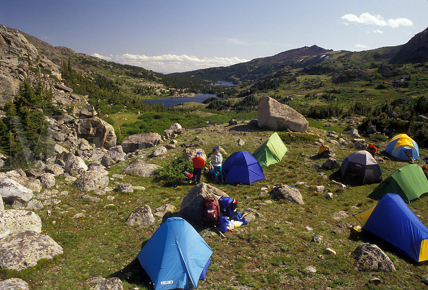 AJ3555, tent, Bighorn Mountains, Bighorn National Forest, camping, backpacking, Wyoming, Tents set up to camp for the night next to Lake Mistymoon in the Cloud Peak Wilderness Area in Bighorn National Forest in the state of Wyoming.