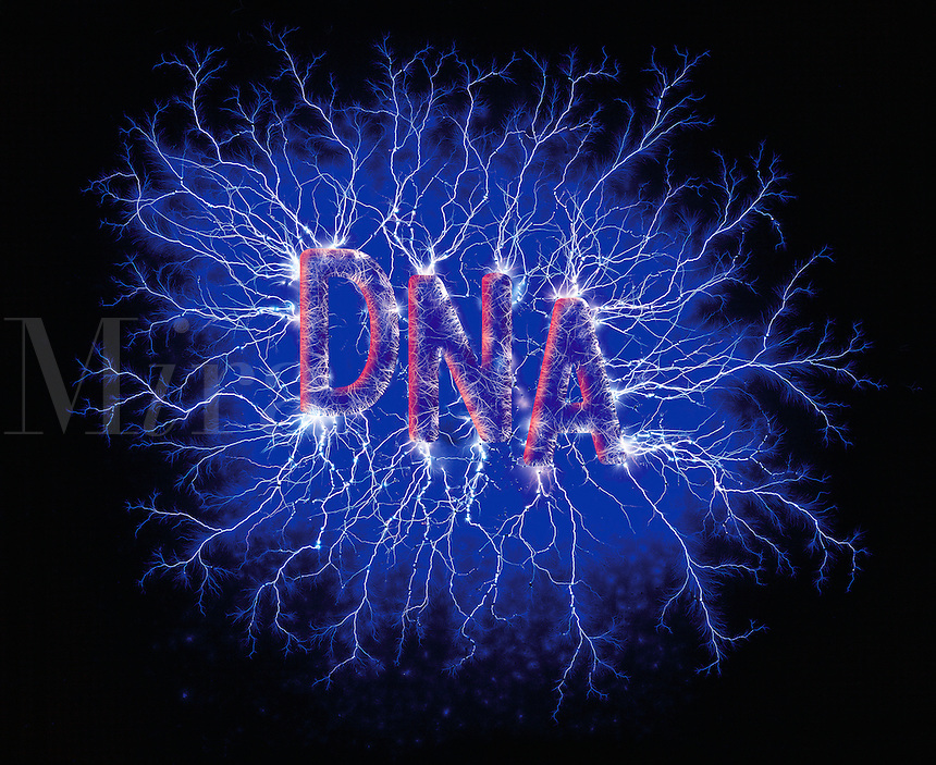 Graphic image - the letters 'DNA' in neon, against an electric blue background..
