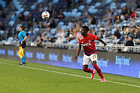 SAINT PAUL, MN - MAY 15: Eddie Munjoma #2 of FC Dallas during a game between FC Dallas and Minnesota United FC at Allianz Field on May 15, 2021 in Saint Paul, Minnesota.