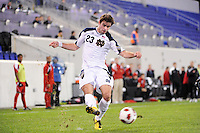 Michael Rose (23) of the Notre Dame Fighting Irish. The Louisville Cardinals defeated the Notre Dame Fighting Irish 1-0 during the semi-finals of the Big East Men's Soccer Championship at Red Bull Arena in Harrison, NJ, on November 12, 2010.
