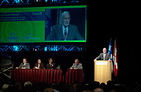 March 19 2003, Montreal, Quebec, Canada<br /> <br /> David Anderson,Canada's  Environment Minister, speak at the Opening Plenary Session  of Americana ;  a 3 daysconference and  trade show on environment and waste management organized by Reseau Environnement, March 19, 2003 in Montreal, Canada.<br /> <br /> Mandatory Credit: Photo by Pierre Roussel- Images Distribution. (©) Copyright 2003 by Pierre Roussel <br /> <br /> NOTE : <br />  Nikon D-1 jpeg opened with Qimage icc profile, saved in Adobe 1998 RGB<br /> .Uncompressed  Original  size  file availble on request.