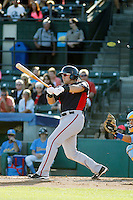 Potomac Nationals catcher Spencer Kieboom (24) at bat during a game against the Myrtle Beach Pelicans at Ticketreturn.com Field at Pelicans Ballpark on May 23, 2015 in Myrtle Beach, South Carolina.  Myrtle Beach defeated Potomac 7-3. (Robert Gurganus/Four Seam Images)