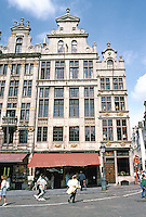 Brussels: Grand Place. From left: The Angel; Joseph & Anne; and The Kite (1696). North side.  Photo '87.
