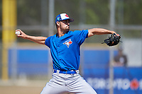 Toronto Blue Jays pitcher Kyle Weatherly (85) during a Minor League Spring Training game against the New York Yankees on March 18, 2018 at Englebert Complex in Dunedin, Florida.  (Mike Janes/Four Seam Images)