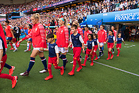 PARIS,  - JUNE 16: Abby Dahlkemper #7 and Julie Ertz #8 enter the field during a game between Chile and USWNT at Parc des Princes on June 16, 2019 in Paris, France.