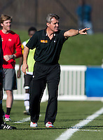 Maryland head coach Sasho Cirovski yells to his team during the game at the Maryland SoccerPlex in Germantown, MD. Maryland defeated North Carolina, 2-1,  to win the ACC men's soccer tournament.