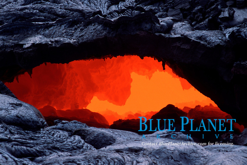 lava skylight at 2000 foot elevation, Volcanoes National Park, Big Island of Hawaii, USA