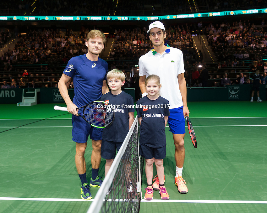 ABN AMRO World Tennis Tournament, Rotterdam, The Netherlands, 18 Februari, 2017, David Goffin (BEL), Pierre-Hugues Herbert (FRA)<br /> Photo: Henk Koster