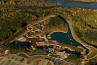 Aerial view of the US National Whitewater Center in Charlotte, NC. The U.S. National Whitewater Center is the world's largest artificial whitewater river and an official U.S. Olympic Training Site.Photographer has other USNWC images in portfolio.