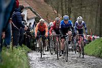 Michael Valgren (DEN/NTT) up the Molenberg ahead of Tiesj Benoot (BEL/Sunweb) & Greg Van Avermaet (BEL/CCC)<br /> <br /> 75th Omloop Het Nieuwsblad 2020 (1.UWT)<br /> Gent to Ninove (BEL): 200km<br /> <br /> ©kramon