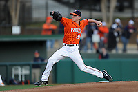 Virginia Cavaliers starting pitcher Brandon Waddell #20 delivers a pitch during a game against the Clemson Tigers at Doug Kingsmore Stadium on March 15, 2013 in Clemson, South Carolina. The Cavaliers won 6-5.(Tony Farlow/Four Seam Images).