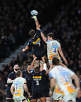 Jack Clifford of Harlequins outjumps Will Rowlands of Wasps during Big Game 11, the Gallagher Premiership Rugby match between Harlequins and Wasps, at Twickenham Stadium on Saturday 29th December 2018 (Photo by Rob Munro/Stewart Communications)