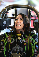 Oct. 26, 2012; Las Vegas, NV, USA: NHRA funny car driver Alexis DeJoria during qualifying for the Big O Tires Nationals at The Strip in Las Vegas. Mandatory Credit: Mark J. Rebilas-