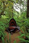 Prehistoric Gardens along the Oregon coast Dimetrodon lizard like creature with fin along back along tour trail Port Orford Oregon State USA