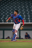 AZL Cubs 2 catcher Henderson Perez (8) follows through on a throw to second base during an Arizona League game against the AZL Rangers at Sloan Park on July 7, 2018 in Mesa, Arizona. AZL Rangers defeated AZL Cubs 2 11-2. (Zachary Lucy/Four Seam Images)