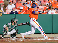 Outfielder Brad Felder (3) of the Clemson Tigers in a game against the University of Alabama-Birmingham on Feb. 17, 2012, at Doug Kingsmore Stadium in Clemson, South Carolina. UAB won 2-1. (Tom Priddy/Four Seam Images)