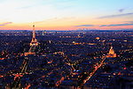 Twilight light aerial view of Eiffel Tower and les Invalides in City of Paris. Paris. France