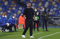 Gennaro Gattuso coach of SSC Napoli during the Europa League round of 32, 2nd leg football match between SSC Napoli and Granada CF at Diego Armando Maradona stadium in Napoli (Italy), February 25, 2021.<br /> Photo Cesare Purini / Insidefoto