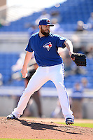 Toronto Blue Jays pitcher Steve Delabar (50) during a spring training game against the Pittsburgh Pirates on February 28, 2014 at Florida Auto Exchange Stadium in Dunedin, Florida.  Toronto defeated Pittsburgh 4-2.  (Mike Janes/Four Seam Images)