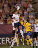 US midfielder Shannon Boxx (7) battle for head ball. The US Women's national team beat Sweden, 3-0, at Rentschler Field on July 17, 2010.