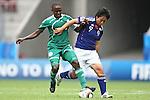17.07.2010,  Augsburg, GER, FIFA U20 Womens Worldcup, Nigeria vs Japan,  im Bild Ebere ORJI (Nigeria Nr.8) im Kampf mit Megumi TAKASE  (Japan Nr.9)  , Foto: nph /  Straubmeier