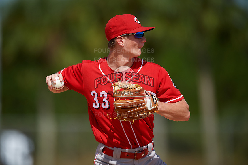 Mac Horvath during the WWBA World Championship at the Roger Dean Complex on October 18, 2018 in Jupiter, Florida.  Mac Horvath is a shortstop from Rochester, Minnesota who attends Century High School and is committed to North Carolina.  (Mike Janes/Four Seam Images)