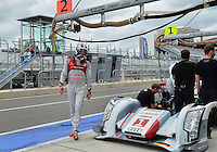 September 19, 2013: <br /> <br /> Andre Lotterer (DEU) of Audi Sport Team Joest #1 LMP1 Audi R18 e-tron quattro walks away from the car during International Sports Car Weekend test and setup session at Circuit of the Americas in Austin, TX.