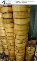Dim sum baskets made from bamboo at Victoria seafood in Hong Kong.