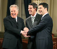 Quebec City, March 13, 2007 ? Jean Charest, Mario Dumont and AndrÈ Boisclair meet the press before the debate at National Assembly March 13, 2007. Just two weeks before the March 26 election, the debate could be a turning point.<br /> <br /> PHOTO :  Francis Vachon - Agence Quebec Presse