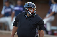 Home plate umpire David Prim works the game between the Deep River Muddogs and the High Point-Thomasville HiToms at Finch Field on June 27, 2020 in Thomasville, NC.  The HiToms defeated the Muddogs 11-2. (Brian Westerholt/Four Seam Images)
