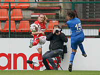 Standard's Sylke Calleeuw (9) and Genk's Lotte Van Den Steen (15) in action during a female soccer game between Standard Femina de Liege and KRC Genk Ladies  on the third matchday of the 2020 - 2021 season of Belgian Womens Super League , Saturday 3 rd of October 2020  in Liege , Belgium . PHOTO SPORTPIX.BE   SPP   SEVIL OKTEM