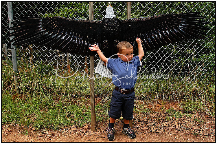 A young boy tries to measure the length of his arms compared to the wingspan of an eagle at the Carolina Raptor Center in Huntersville, NC. Model released.