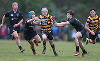 Saturday 18th February 2017 | CCB vs RBAI<br /> <br /> Michael Lowry during the Ulster Schools' Cup Quarter Final clash between Campbell College Belfast and RBAI at Foxes Field, Campbell College, Belmont, Belfast, Northern Ireland.<br /> <br /> Photograph by John Dickson | www.dicksondigital.com