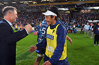 Blues coachesd Leon MacDonald and Tana Umaga celebrate winning the Super Rugby Tran-Tasman final between the Blues and Highlanders at Eden Park in Auckland, New Zealand on Saturday, 19 June 2021. Photo: Dave Lintott / lintottphoto.co.nz