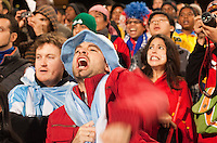 F ans react to the penalty kick shootout between Japan and Paraguay.  Japan played Paraguay in a 2010 FIFA World Cup second round match at Loftus Versfeld Stadium in Tshwane/Pretoria, South Africa on Tuesday, June 29, 2010.