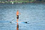 Austria, Upper Austria, Salzkammergut: Stand Up Paddling (SUP),on lake Attersee | Oesterreich, Oberoesterreich, Salzkammergut: Stand Up Paddling (SUP), auch Stehpaddeln genannt, auf dem Attersee