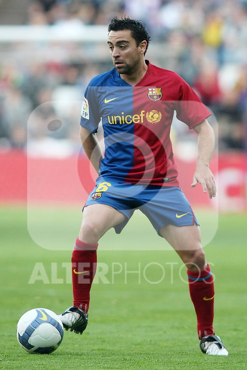FC Barcelona's Xavi Hernandez during La Liga match.April 4 2009. (ALTERPHOTOS/Acero).
