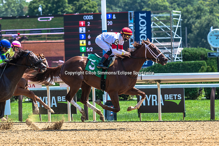 August 14, 2020:  Flashing Red #5 ridden by Tyler Gaffalione wins the first race on the Perfect Sting day at Saratoga Race Course in Saratoga Springs, New York. Rob Simmons/CSM