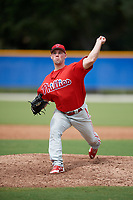 Philadelphia Phillies pitcher Aaron Brown (27) delivers a pitch during an Instructional League game against the Toronto Blue Jays on October 7, 2017 at the Englebert Complex in Dunedin, Florida.  (Mike Janes/Four Seam Images)