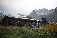 people that came to cheer at the finish spent a big part of the time taking shelter from hail & rain as the riders crossed the line  <br /> <br /> finish of stage 9 in Andorra Arcalis (coming from Velha Val d'Aran/ESP, 184km)<br /> 103rd Tour de France 2016