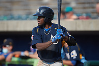 Edmond Americaan (20) of the Myrtle Beach Pelicans waits for his turn to hit during the game against the Lynchburg Hillcats at Bank of the James Stadium on May 23, 2021 in Lynchburg, Virginia. (Brian Westerholt/Four Seam Images)
