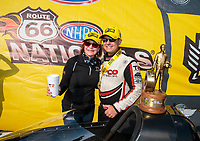 Jun 2, 2019; Joliet, IL, USA; NHRA top fuel driver Steve Torrence celebrates with mother Kay Torrence after winning the Route 66 Nationals at Route 66 Raceway. Mandatory Credit: Mark J. Rebilas-USA TODAY Sports