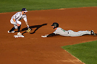 Wisconsin Timber Rattlers shortstop Brice Turang (2) puts a tag on Evan Edwards (27) as he slides into second base during a Midwest League game on June 20, 2019 at Fox Cities Stadium in Appleton, Wisconsin. Wisconsin defeated Clinton 5-2. (Brad Krause/Four Seam Images)