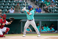 Second baseman JC Correa (11) of the Asheville Tourists in a game against the Greenville Drive on Tuesday, August 31, 2021, at Fluor Field at the West End in Greenville, South Carolina. (Tom Priddy/Four Seam Images)