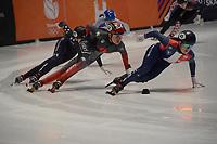 SPEEDSKATING: DORDRECHT: 05-03-2021, ISU World Short Track Speedskating Championships, QF 1500m Ladies, Courtney Sarault (CAN), Aurelie Monvoisin (FRA), ©photo Martin de Jong