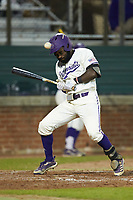 Immanuel Wilder (7) of the Western Carolina Catamounts is hit by a pitch against the St. John's Red Storm at Childress Field on March 13, 2021 in Cullowhee, North Carolina. (Brian Westerholt/Four Seam Images)