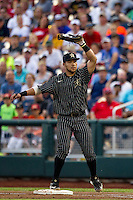 Vanderbilt Commodores first baseman Zander Wiel (43) records an out during the NCAA College baseball World Series against the Cal State Fullerton Titans on June 14, 2015 at TD Ameritrade Park in Omaha, Nebraska. The Titans were leading 3-0 in the bottom of the sixth inning when the game was suspended by rain. (Andrew Woolley/Four Seam Images)
