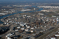 aerial photograph of refinery along the Houston Ship Channel, Port of Houston, Texas