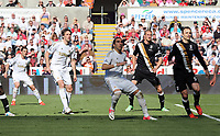 Pictured: (L-R) Angel Rangel, Michu, Chico Flores, Brede Hangeland, Dimitar Berbatov.<br /> Sunday 19 May 2013<br /> Re: Barclay's Premier League, Swansea City FC v Fulham at the Liberty Stadium, south Wales.