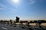 The peloton in the desert during Stage 1 The Nakheel Stage of the Dubai Tour 2018 the Dubai Tour's 5th edition, running 167km from Skydive Dubai to Palm Jumeirah, Dubai, United Arab Emirates. 6th February 2018.<br /> Picture: LaPresse/Fabio Ferrari | Cyclefile<br /> <br /> <br /> All photos usage must carry mandatory copyright credit (© Cyclefile | LaPresse/Fabio Ferrari)